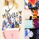 groothandel Kleding & Fashion: A1921 Adorable dames sweater, fotodruk: vlinders