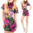 4225 Robe attrayante, fleurs tuniques, laine
