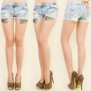 wholesale Shorts: B16498 WOMEN  SHORTS, JEANS SHORTS, leopard