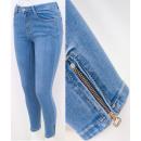 B16812 Women Jeans, Pants with Zips, Light Blue
