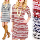wholesale Fashion & Apparel: 4202 Patterned  Dress, Hearts, Reindeers, Zigzags