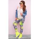 wholesale Fashion & Apparel: 4265 Ladies  Leggins on Summer, Neon Leaves Pattern