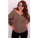 Großhandel Pullover & Sweatshirts: A8105 Frauen Oversize-Pullover, Perlen auf der Sch
