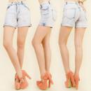 ingrosso Jeans: B16507 SHORTS  JEANS, elevato  stato, FORI e ...
