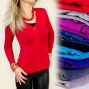 ingrosso Ingrosso Abbigliamento & Accessori: C1111 CLASSIC  MAGLIA, Grandi tasti con scollo a V