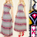 C22116 WOMAN DRESS MAXI, COLOR CORALS