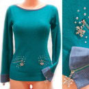 wholesale Pullover & Sweatshirts: Women Sweater S-XL, Lace and Pearls, D14129