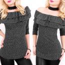 groothandel Kleding & Fashion: BI637 bezocht blouse, tuniek, Shiny Knitwear