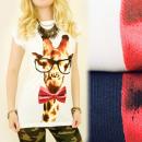 Großhandel Shirts & Tops: K432 Cotton Top  Bluse, Giraffe in Gläsern