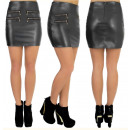 wholesale Skirts: Mini Skirt, Gold Sliders, Black Leather 5194