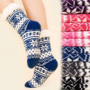 groothandel Schoenen: 4176 Warme lange  sokken, ABS-sloffen, Bont