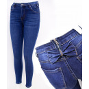 B16794 Women Jeans, Pants, Sliders and Bows, Blue