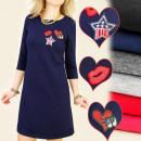 BI210 trui jurk,  UNIFORMJAS, lovertjes badges
