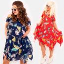 C17556 Summer Dress, Plus Size, Colorful Tropics