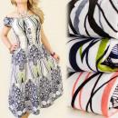 FL169 Kleid,  Sommer-Muster-, NICE MIX NECKLINE