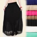 Großhandel Röcke: A1912 Langer Damenrock mit plissiertem Chiffon