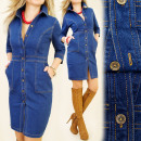 BI165 shapely jeans DRESS, SHIRTDRESS with buttons
