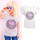 K559 pamut T-Shirt , top, Flamingo, szürke