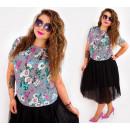 Großhandel Hemden & Blusen: D1458 Lose Bluse Capri Style, gemalte Blumen
