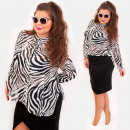 wholesale Shirts & Blouses: D1488 Plus Size Tunic, Zebra Pattern, Oversize