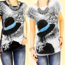 3809 BLOUSE TOP  PHOTO PRINT, MYSTERIOUS GIRL MIX