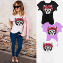 K613 Cotton Women Shirt, Top, Cat And Roses