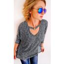 hurtownia Fashion & Moda: R02 Swetrowa Tunika, Bluzka z Chokerem na Dekolcie