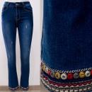 wholesale Jeanswear: B16845 Beautiful Women Jeans With Folk Embroidery