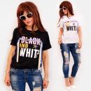 C11546 Damen Shirt, Perlen und Bänder, Black &