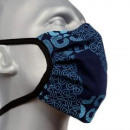 Protective face mask, blue-print, straps.