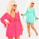 Großhandel Kleider: EM94 Damen Kleid, Bögen und V-Ausschnitt
