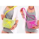 grossiste Sacs à main: T64 Sac à main pour femme avec noeud, rayures néon