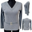 hurtownia Fashion & Moda: Damska Bawełniana Bluzka Top , Pasy 38-44 7531