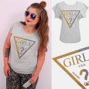 Großhandel Shirts & Tops: A884 T-Shirt Baumwolle, Top, Brocade Girls, Grau