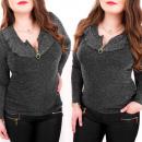Großhandel Hemden & Blusen: BI645 Glänzende Bluse, Goldener Schieberegler und