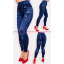 SOF42 Bawełniane Legginsy Jeans z Nadrukiem