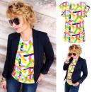 ingrosso T-shirts & Tops: B18225 Camicetta,  Top in cotone, Zigzag colorati
