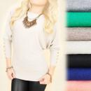 ingrosso Ingrosso Abbigliamento & Accessori: C22138 Maglione  Elegante, Pulsanti Oro, Cashmere