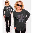 R44 Wygodny Sweter Oversize: Cats in Love