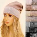 hurtownia Fashion & Moda: 4159 Ciepła  Efektowna Czapka, Srebrna Nitka Dżety