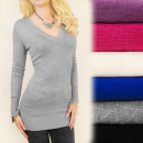 wholesale Pullover & Sweatshirts: C17225 Beautiful  Tunic, Sweater, Vibrant V Neck