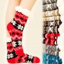 wholesale Stockings & Socks: 4157 Warm Socks,  Fur Slippers, Winter Pattern