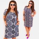 Großhandel Kleider: BI808 Gemustert Plus Size Dress bis 54, Schiebereg
