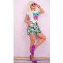 Großhandel Shorts: C17494 Damen Shorts, Übergröße, Tropische Blumen