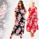 C17546 Długa Sukienka Plus Size, Lawendowe Róże