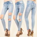 ingrosso Jeans: B16533 Jeans di  Pinstripe, Tubo, Fori alla moda