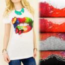 hurtownia Fashion & Moda: K407 BAWEŁNIANA  BLUZKA, TOP, BUTTERFLY LIPSTICK