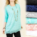 C1168 Elegant Plus Size Blouse, Chic Lace