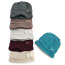 Großhandel Kopfbedeckung: Warme Damenmütze, Mütze, 2 Lagen, Schleife, 5096