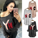 Großhandel Fashion & Accessoires: AW029 Charmanter  Pullover, lose Bluse, NYC Emblem